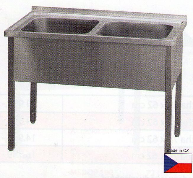 Nerezový dvoudřez - mycí stůl s roštovou policí MSD21070 - DOPRAVA ZDARMA MSD21070rp