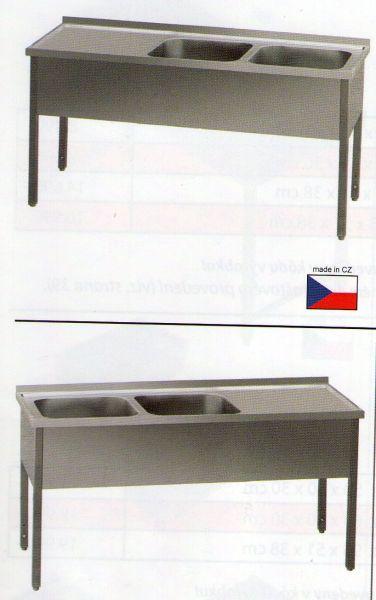 Nerezový dvoudřez - mycí stůl s odkapovou plochou s plnou policí MSDOL/P14070 - DOPRAVA ZDARMA MSDOL/P14070pp